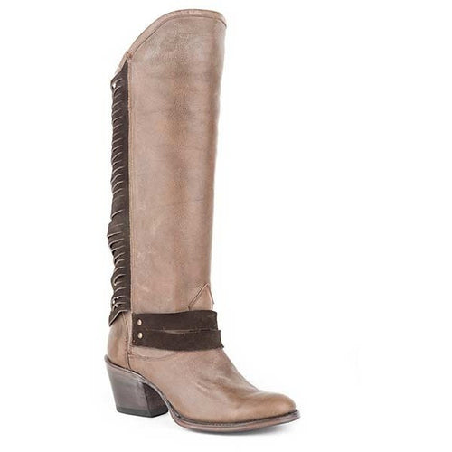 Women's Stetson Dover Knee High Boots Round Toe Handcrafted - yeehawcowboy