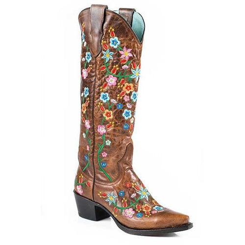 Women's Stetson Flora Knee High Boots Snip Toe Handcrafted - yeehawcowboy