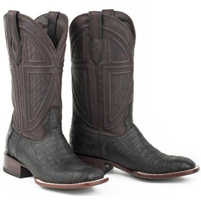 Men's Stetson Houston Caiman Belly Boots Square Toe Handcrafted - yeehawcowboy