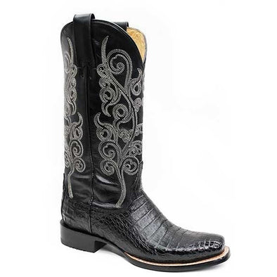 Women's Stetson Josie Caiman Belly Boots Square Toe Handcrafted - yeehawcowboy