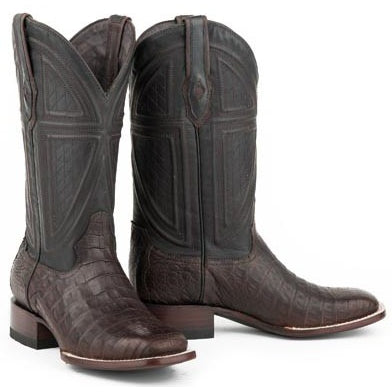 Men's Stetson Kaycee Caiman Belly Boots Square Toe Handcrafted JBS Collection - yeehawcowboy