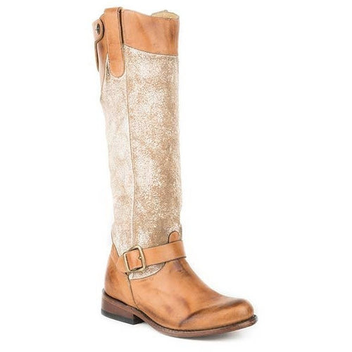 Women's Stetson Mia Knee High Boots Round Toe Handcrafted - yeehawcowboy