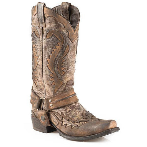 Men's Stetson Outlaw Boots Square Rocker Toe Handcrafted - yeehawcowboy