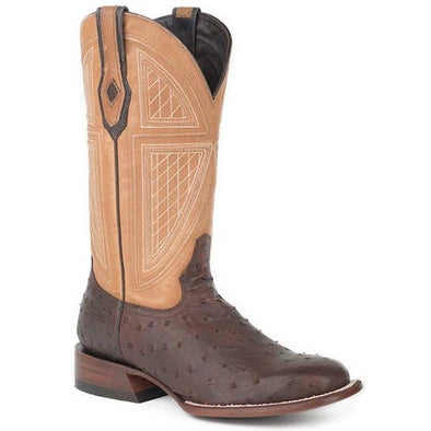 Men's Stetson Red Lodge Ostrich Boots Square Toe Handcrafted - yeehawcowboy