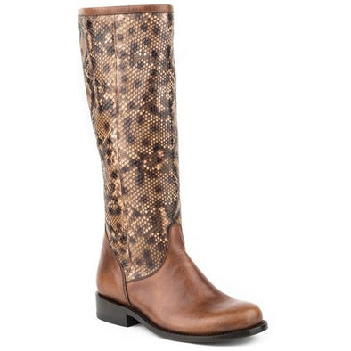 Women's Stetson Salma Knee High Python Boots Round Toe Handcrafted - yeehawcowboy