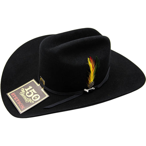 6x Stetson Spartan Fur Felt Hat With Feather Black - yeehawcowboy