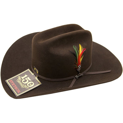6x Stetson Spartan Fur Felt Hat With Feather Chocolate - yeehawcowboy