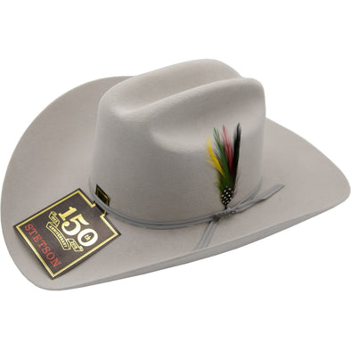 6x Stetson Spartan Fur Felt Hat With Feather Mist Gray - yeehawcowboy