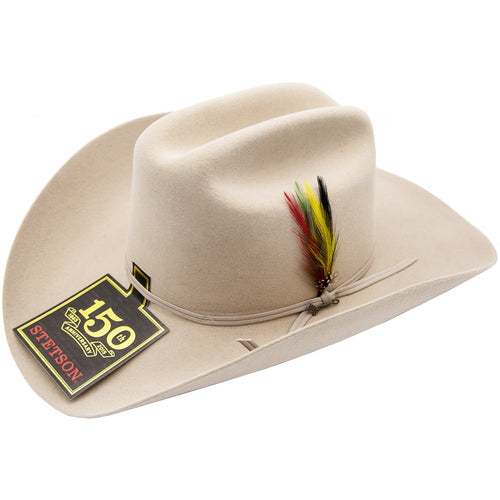 d08075318fec4 6x Stetson Spartan Fur Felt Hat With Feather Silver Belly - yeehawcowboy