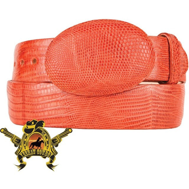 King Exotic Teju Lizard Belt With Removable Buckle Cognac - yeehawcowboy