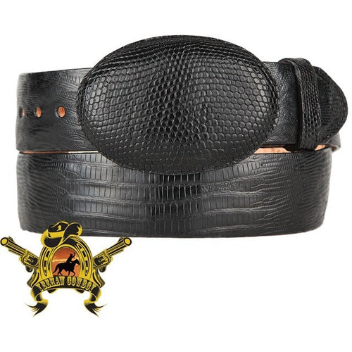 King Exotic Teju Lizard Belt With Removable Buckle Black - yeehawcowboy
