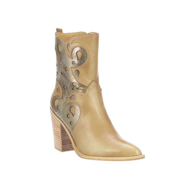 Women's Lucchese Twyla Leather Ankle Boots Handcrafted Tan - yeehawcowboy