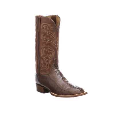 Men's Lucchese Stewart Ostrich Leg Boots Handcrafted Chocolate - yeehawcowboy