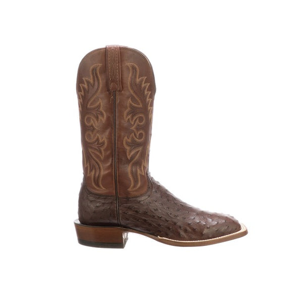 Men's Lucchese Harmon Full Quill Ostrich Boots Handcrafted Sienna - yeehawcowboy