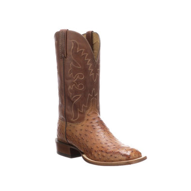 Men's Lucchese Harmon Full Quill Ostrich Boots Handcrafted Tan - yeehawcowboy
