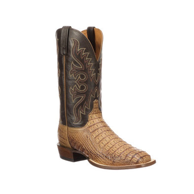 Men's Lucchese Fisher Hornback Caiman Boots Handcrafted Tan - yeehawcowboy