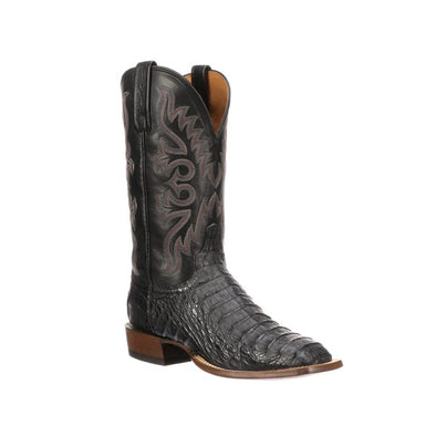 Men's Lucchese Fisher Hornback Caiman Boots Handcrafted Black - yeehawcowboy