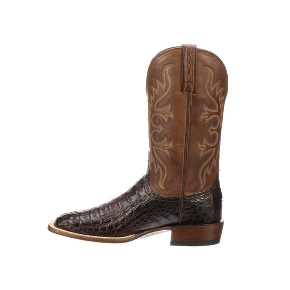 Men's Lucchese Fisher Hornback Caiman Boots Handcrafted Barrel Brown - yeehawcowboy