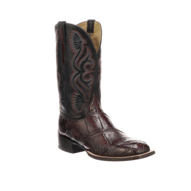 Men's Lucchese Roy Giant Gator Boots Handcrafted Black Cherry - yeehawcowboy