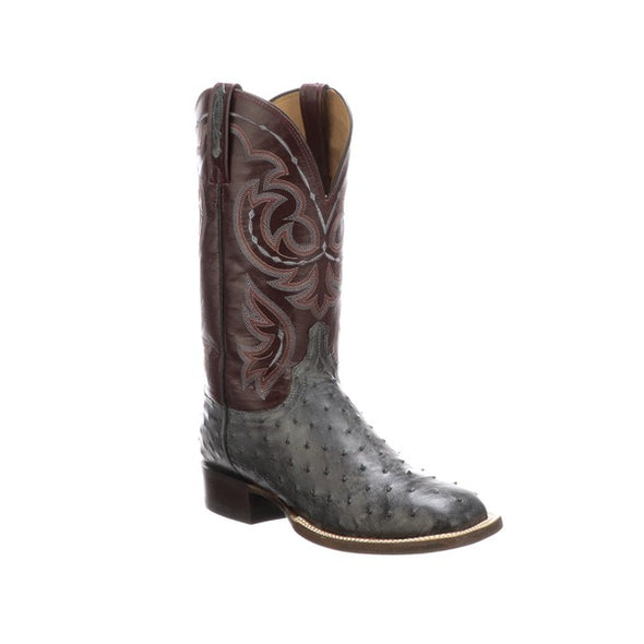 Men's Lucchese Harris Full Quill Ostrich Boots Handcrafted Anthracite Grey - yeehawcowboy