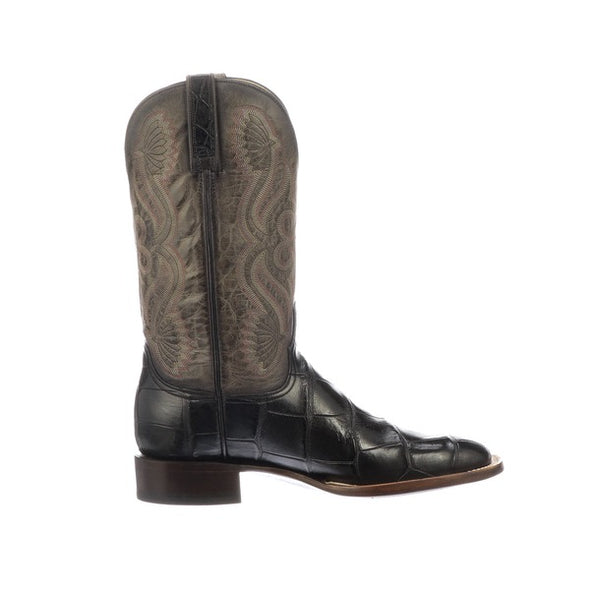 Men's Lucchese Roy Giant Gator Boots Handcrafted Black - yeehawcowboy