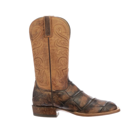 Men's Lucchese Russell Giant Gator Boots Handcrafted Chocolate - yeehawcowboy