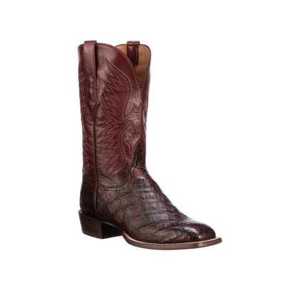 Men's Lucchese Bryan Exotic Giant Caiman Boots Handcrafted Black Cherry - yeehawcowboy