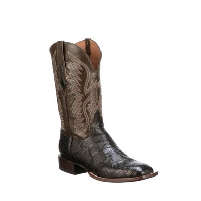 Men's Lucchese Bryan Exotic Giant Caiman Boots Handcrafted Black - yeehawcowboy