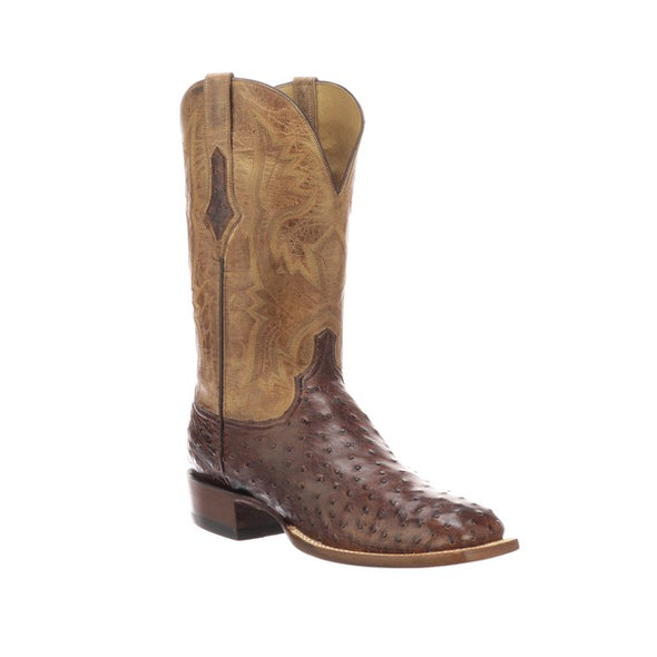 Men's Lucchese Cliff Full Quill Ostrich Boots Handcrafted Chocolate - yeehawcowboy