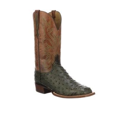 Men's Lucchese Diego Full Quill Ostrich Boots Handcrafted Forest Green - yeehawcowboy