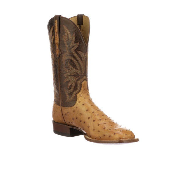 Men's Lucchese Diego Full Quill Ostrich Boots Handcrafted Butterscotch - yeehawcowboy