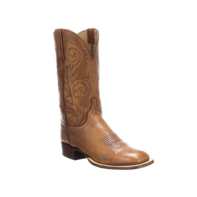 Men's Lucchese Curtis Leather Boots Handcrafted Whiskey - yeehawcowboy