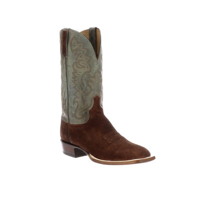 Men's Lucchese Levi Suede Boots Handcrafted Rust - yeehawcowboy