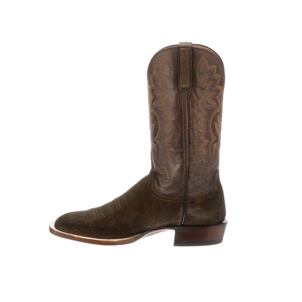 Men's Lucchese Levi Suede Boots Handcrafted Cognac - yeehawcowboy