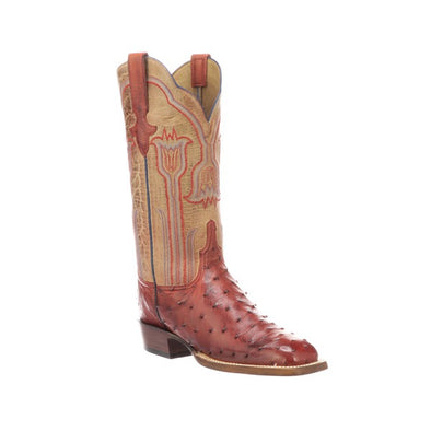 Women's Lucchese Maggie Ostrich Boots Handcrafted Brick Red - yeehawcowboy