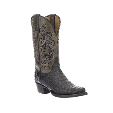 Men's Lucchese Bodie Hornback Caiman Boots Handcrafted Black - yeehawcowboy