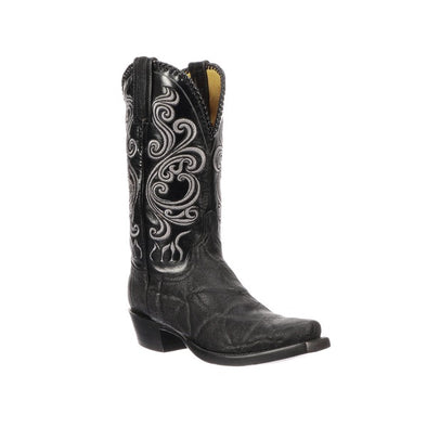 Men's Lucchese Terlingua Elephant Boots Handcrafted Black - yeehawcowboy