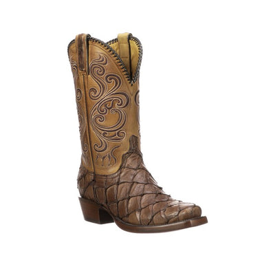 Men's Lucchese Beau Pirarucu Boots Handcrafted Chocolate - yeehawcowboy