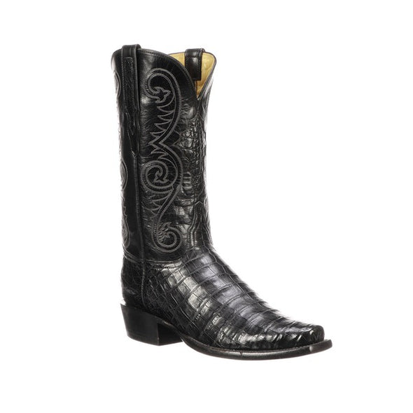 Men's Lucchese Jones Caiman Belly Boots Handcrafted Black - yeehawcowboy
