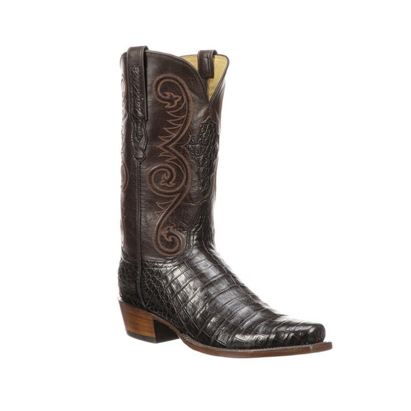 Men's Lucchese Jones Caiman Belly Boots Handcrafted Chocolate - yeehawcowboy