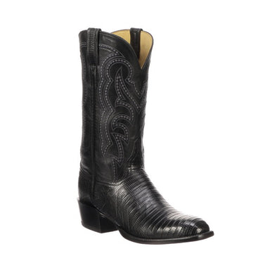 Men's Lucchese Kip Lizard Boots Handcrafted Black - yeehawcowboy