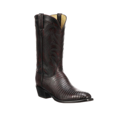 Men's Lucchese Kip Lizard Boots Handcrafted Black Cherry - yeehawcowboy