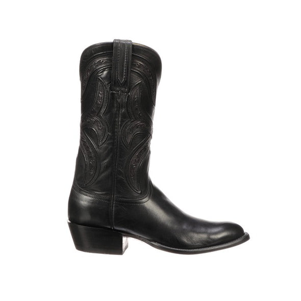 Men's Lucchese Knox Leather Boots Handcrafted Black - yeehawcowboy