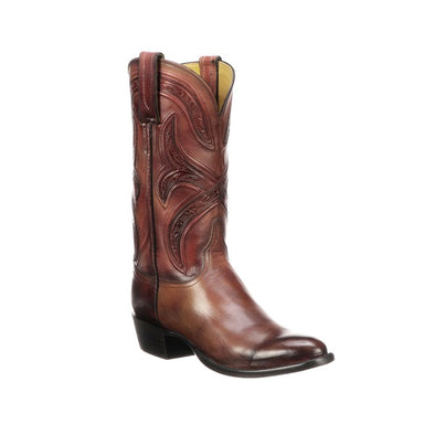 Men's Lucchese Knox Leather Boots Handcrafted Black Cherry - yeehawcowboy