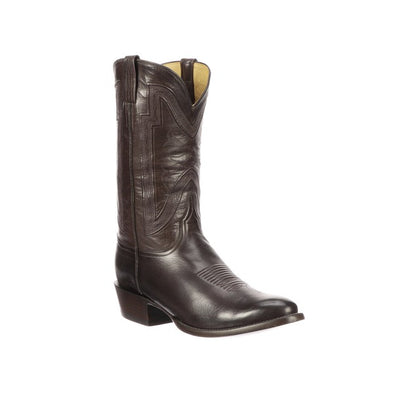 Men's Lucchese Collins Buffalo Boots Handcrafted Chocolate - yeehawcowboy