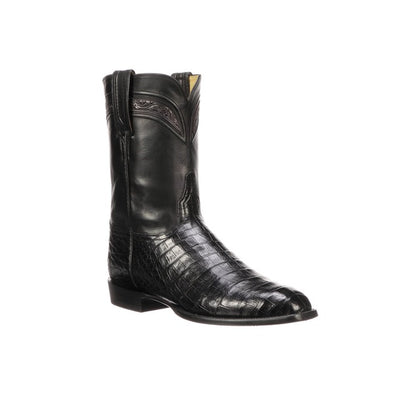 Men's Lucchese Wilson Caiman Belly Roper Boots Handcrafted Black - yeehawcowboy