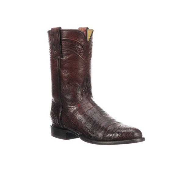 Men's Lucchese Wilson Caiman Belly Roper Boots Handcrafted Black Cherry - yeehawcowboy