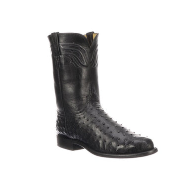 Men's Lucchese Augustus Full Quill Ostrich Roper Boots Handcrafted Black - yeehawcowboy