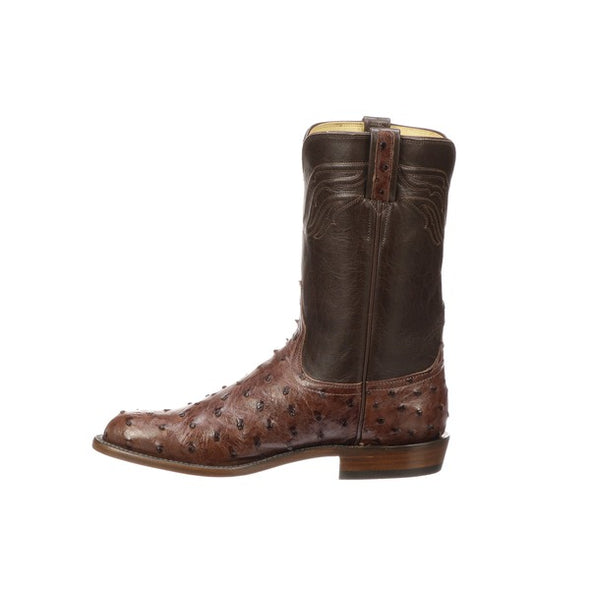 Men's Lucchese Augustus Full Quill Ostrich Roper Boots Handcrafted Sienna - yeehawcowboy