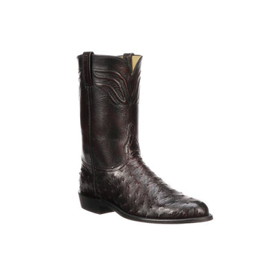 Men's Lucchese Augustus Full Quill Ostrich Roper Boots Handcrafted Black Cherry - yeehawcowboy